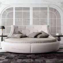 Круглая кровать с мягким изголовьем из экокожи, кожи ARL-003