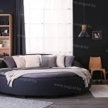 Круглая кровать с мягким изголовьем из экокожи, кожи, текстиля ARL-002