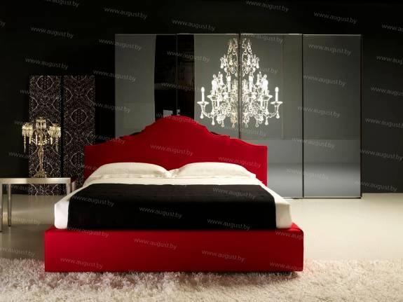 """Кровать с мягким изголовьем AL-0355 """"Santa Lucia"""" Red Night"""