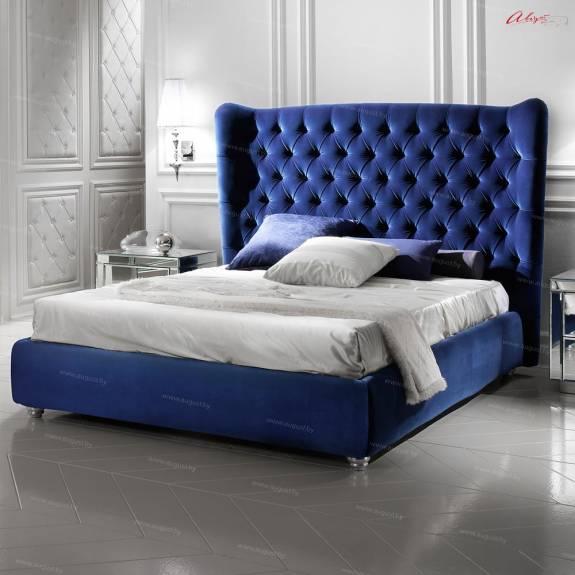 """Кровать с мягким изголовьем AL-0182L """"Mystery Plain Lux"""" Blue"""